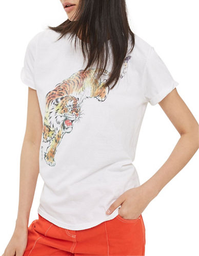 Topshop Tiger Graphic T-Shirt-WHITE-Small