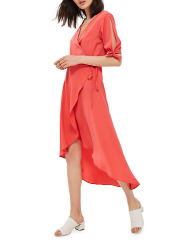 Topshop Emma Wrap Midi Dress-RED-UK 12/US 8