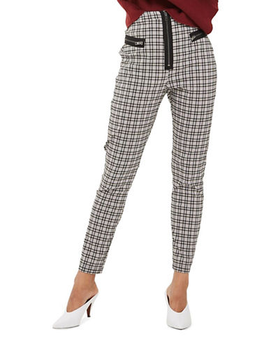 Topshop Check Cigarette Trousers-MONOCHROME-UK 8/US 4