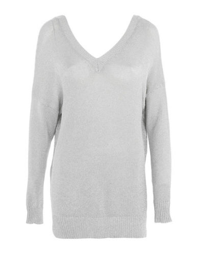 Topshop Metallic Yarn Longline Sweater-SILVER-UK 12/US 8