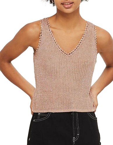 Topshop Metallized Yarn Ribbed Tank Top-ROSE GOLD-UK 8/US 4