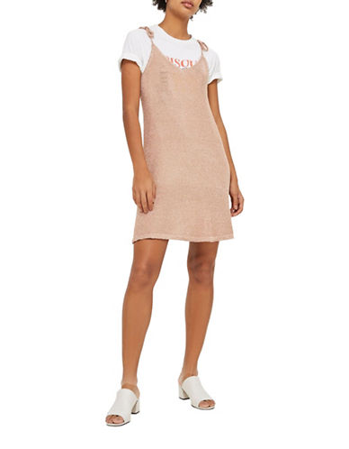 Topshop Metallized Yarn Cami Dress-ROSE GOLD-UK 6/US 2