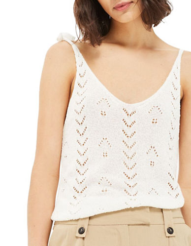 Topshop Stitch Knitted Tie Camisole Top-IVORY-UK 6/US 2