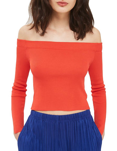 Topshop Bardot Split Sleeve Knit Top-RED-UK 12/US 8
