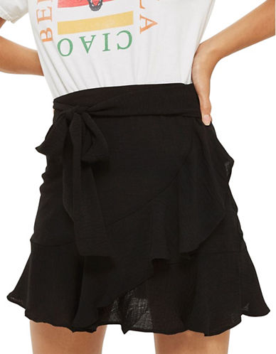 Topshop Ruffle Tie Mini Skirt-BLACK-UK 6/US 2