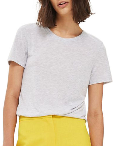 Topshop Boxy Crew Neck Tee-GREY MARL-UK 14/US 10
