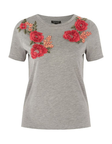 Topshop Floral Applique T-Shirt-GREY MARL-UK 6/US 2