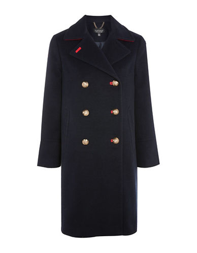 Topshop Heavy Duster Coat-NAVY-UK 16/US 12