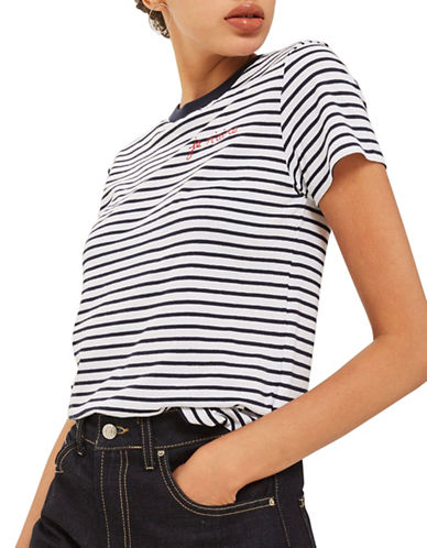 Topshop Je M Aime Embroidered Stripe T-Shirt by Tee and Cake-MULTI-UK 10/US 6