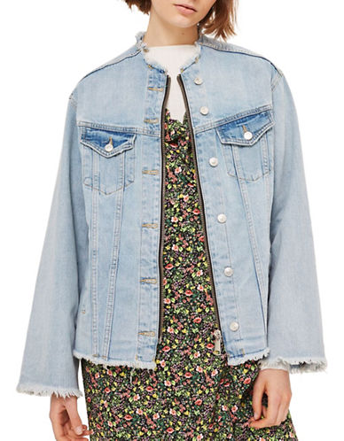Topshop Moto Zip Through Denim Jacket-DENIM-UK 12/US 8