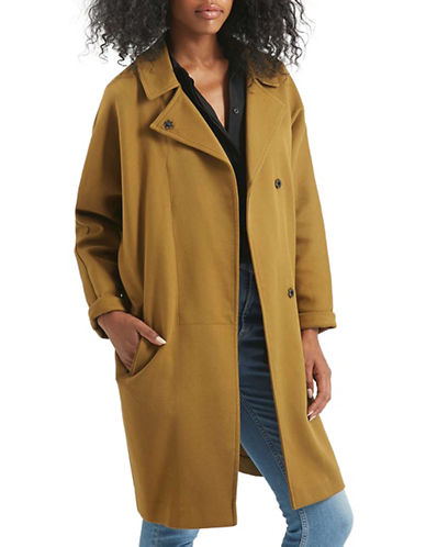 Topshop Twill Pea Coat-KHAKI-UK 10/US 6