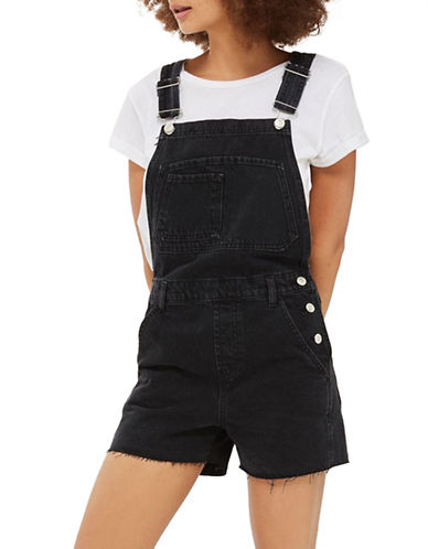 Topshop Denim Short Dungarees-WASHED BLACK-UK 12/US 8