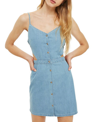 Topshop MOTO Cut-Out Denim Dress-BLEACH-UK 14/US 10