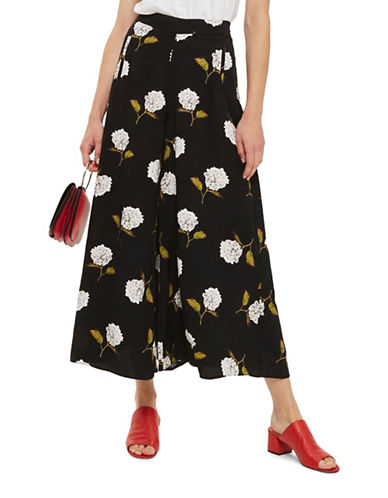 Topshop Floral Palazzo Trousers-MONOCHROME-UK 10/US 6