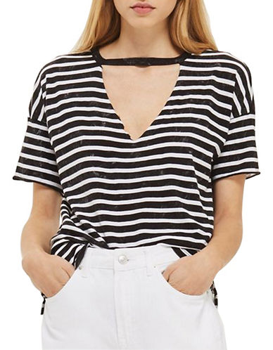 Topshop PETITE Choker Acid Stripe Tee-CHARCOAL-UK 10/US 6