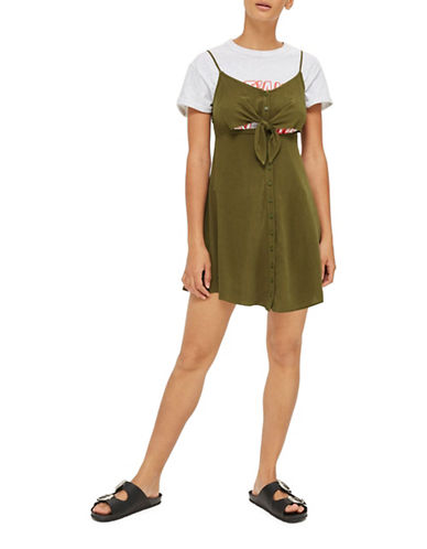 Topshop PETITE Linen-Blend Mini Dress-KHAKI-UK 10/US 6