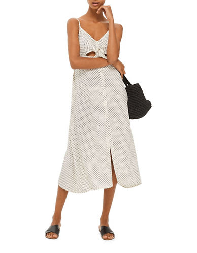 Topshop Pinstar Knot Front Midi Dress-IVORY-UK 12/US 8