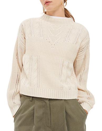 Topshop Lingerie Aran Sweater-CREAM-UK 8/US 4