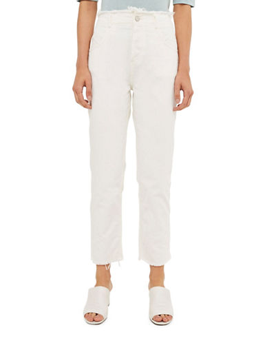 Topshop High Waist Frayed Hem Jeans by Boutique-WHITE-UK 10/US 6