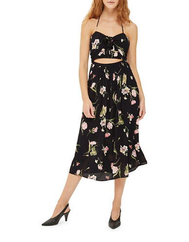 Topshop Bow Front Floral Midi Dress-BLACK-UK 10/US 6