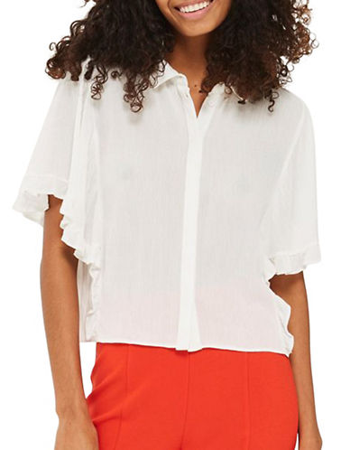 Topshop Katie Frill Shirt-IVORY-UK 6/US 2