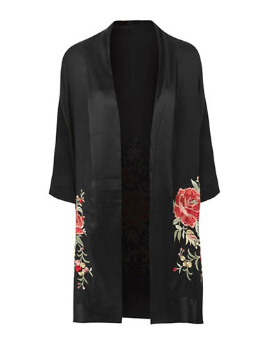 Topshop Rose Embroidered Kimono-BLACK-UK 12/US 8