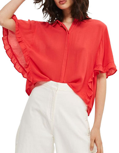 Topshop Katie Frill Shirt-RED-UK 10/US 6