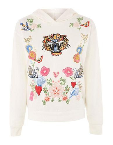Topshop Tiger Swan Embroidered Hoodie-CREAM-UK 6/US 2