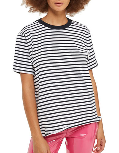 Topshop PETITE Breton Stripe Jersey Top-NAVY BLUE-UK 10/US 6