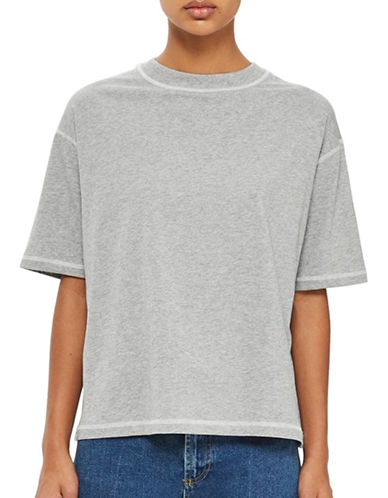 Topshop Contrast Stitch T-Shirt-GREY-UK 8/US 4