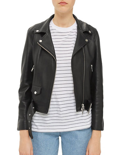 Topshop Belted Leather Biker Jacket by Boutique-BLACK-UK 8/US 4
