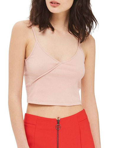 Topshop PETITE Strappy Crop Top-ROSE-UK 10/US 6