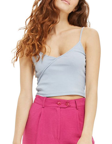 Topshop PETITE Strappy Crop Top-BLUE-UK 4/US 0