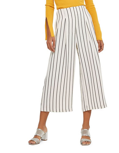 Topshop Striped Wide Crop Trousers-MONCHROME-UK 12/US 8