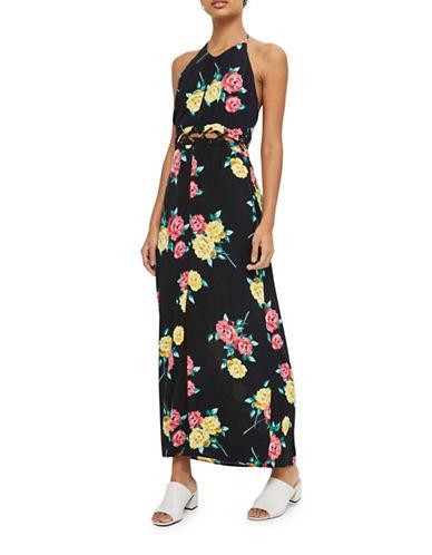 Topshop Halter Lattice Maxi Dress-BLACK-UK 8/US 4