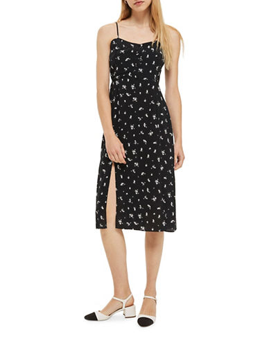 Topshop Scatter Floral Button Midi Dress-MONOCHROME-UK 12/US 8