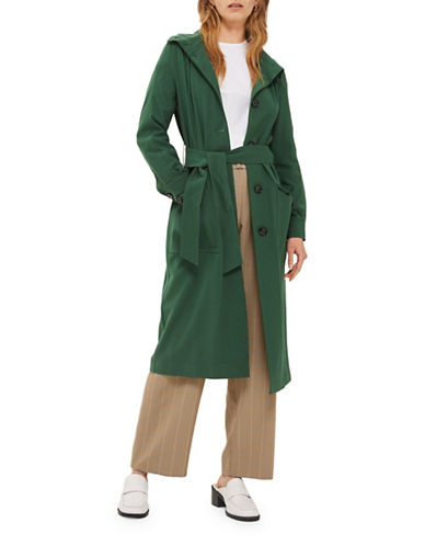 Topshop Blouson Duster Coat-GREEN-UK 10/US 6