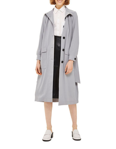 Topshop Blouson Duster Coat-GREY-UK 12/US 8
