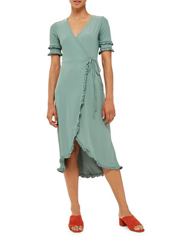 Topshop Frill Sleeve Wrap Midi Dress-GREEN-UK 10/US 6