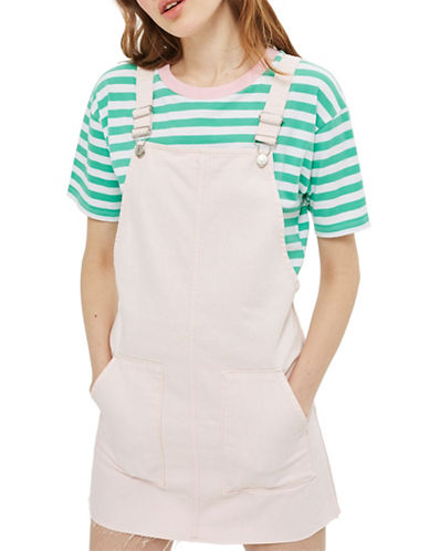 Topshop MOTO Pocket Pinafore Dress-PINK-UK 8/US 4