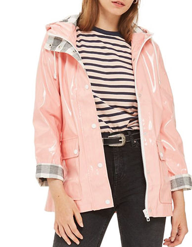 Topshop PETITE Vinyl Maisie Jacket-LIGHT PINK-UK 8/US 4