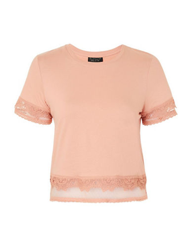 Topshop Dobby Trim Tee-PINK-UK 10/US 6