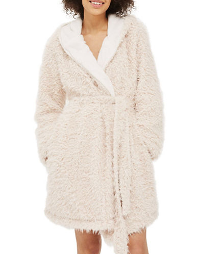 Topshop Shaggy Teddy Robe-BLUSH-Small