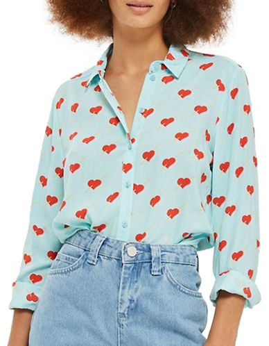 Topshop Heart-Printed Button-Up Shirt-LIGHT BLUE-UK 6/US 2