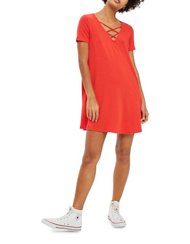 Topshop Lattice Front Swing Dress-RED-UK 8/US 4