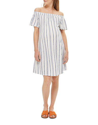Topshop Stripe Bardot Dress-BLUE-UK 10/US 6