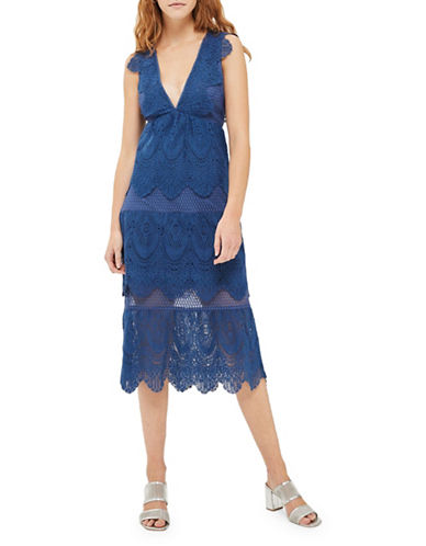 Topshop Tiered Lace Midi Dress-BLUE-UK 10/US 6