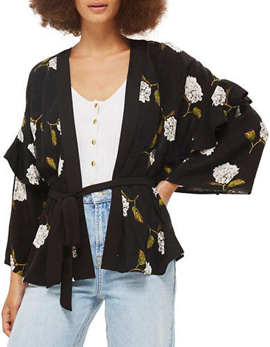 Topshop Floral Frill Detail Jacket-MONOCHROME-UK 6/US 2
