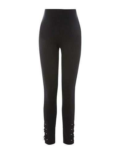 Topshop MATERNITY Lace-Up Leggings-BLACK-UK 14/US 10