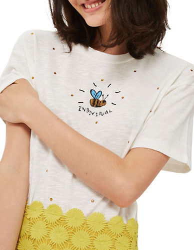 Topshop Embellished Bee T-Shirt by Tee & Cake-CREAM-UK 12/US 8